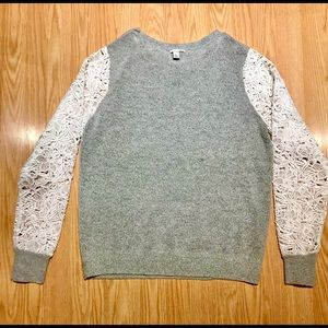 Halogen Woman's Grey Sweater w/ Lace Sleeves